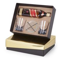 Kit Whisky Johnnie Walker Red Label 500ml + 2 copos e 2 porta copos - Shop quality