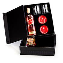 Kit Whisky Johnnie Walker Red Label litro + 2 copos e 2 porta copos - Shop quality