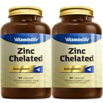 Kit x2 Zinco Quelato Zinc Chelated Vitaminlife 90 Cápsulas Kit x2 -