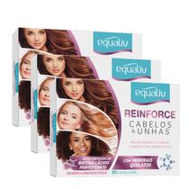 Kit x3 reinforce cabelos e unhas - 30 capsulas - equaliv -