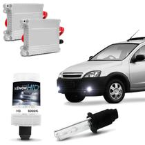 Kit Xênon Completo H3 6000K Chevrolet Montana 04 A 10 Tonalidade Branca Reator Função Anti Flicker - Kit iluminação