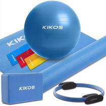 Kit Yoga e Pilates Kikos - Bola/Anel/Bloco/Tapete/Faixas -