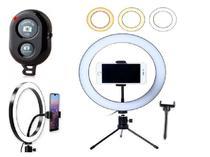 Kit Youtber Ring Light 20cm Iluminador Led Flash Anel Makeup Tripé de Mesa + Controle Bluetooth Gravação Vídeo + Suporte - Ring Fill Light