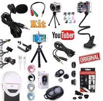 Kit Youtuber 10x1 Microfone de Lapela + 2 Tripés Celular + Flash + Suporte Articulado + Kit Lentes + Extensão 3 Metros - Leffa Shop