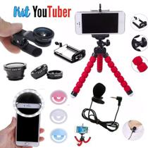 Kit Youtuber 11 Luz de Selfie Microfone Lapela Mini Tripe - Ukimix