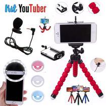 Kit Youtuber 12 Luz de Selfie Mini Tripe Microfone Lapela - Ukimix