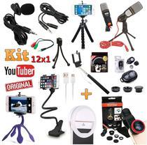 Kit Youtuber 12x1 Lapela Microfone Mesa Profissional + Tripé Celular Iphone Android Universal + Flash Bastão Kit Lentes - Leffa Shop
