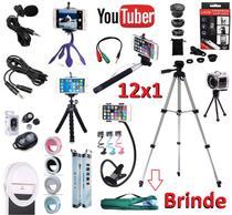 Kit Youtuber 12x1 Tripé 1,30m Microfone de Lapela Celular + Flash + Lentes + 2 Tripés + Suporte Articulado + Bastão - Leffa Shop