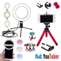 Kit Youtuber 13 Iluminador Ring Light Mini Tripé Luz Selfie - Ukimix