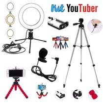 Kit Youtuber 14 Iluminador Ring Light Tripé Grande Mini Tripé - Ukimix