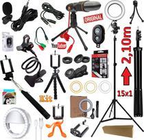Kit Youtuber 15x1 Profissional Completo Tripé 2,10m Câmera Celular Lapela + Microfone Mesa Iluminador Luz Led Ring Light - Leffa Shop