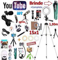 Kit Youtuber 15x1 Profissional Tripé 1,30m Lapela + Microfone Mesa Celular + Iluminador Luz Ring Light Flash + Bastão - Leffa Shop