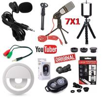 Kit Youtuber 7x1 Microfone Mesa Condensador Profissional + Lapela Pc Celular Iphone Android + Luz Flash Lentes + Tripé - Leffa shop