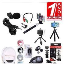Kit Youtuber 9x1 Profissional Microfone de Lapela Celular + 2 Tripés Flexíveis + Bastão de Selfie - Redshock