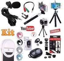 Kit Youtuber 9x1 Profissional Microfone de Lapela Celular Universal 2 Tripés Flexíveis Bastão Selfie + Flash Kit Lentes - Leffa Shop
