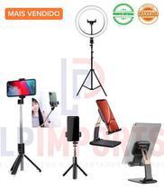 Kit Youtuber completo  Ringlight tripé  + Suport celular tablet  ipad iphone + Bastão Selfie Bluetooth Retrátil - Lp Imports