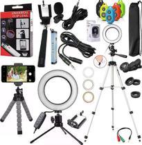 Kit Youtuber Iluminador Luz Led Ring Light + Microfone Tripé Profissional Celular Gravar Vídeo Universal Iphone Android - Leffa Shop
