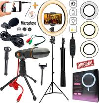 Kit Youtuber Lapela Microfone Condensador de Mesa Celular Tripé Profissional Luz Iluminador Ring Light Anel Portátil Led - Riosul Store