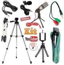 Kit Youtuber Lapela + Microfone de Mesa + Tripé 1,30m Câmera Celular Universal Extensão 3 Metros - Leffa Shop