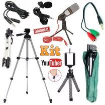 Kit Youtuber Lapela + Microfone de Mesa + Tripé 1,30m Câmera Celular Universal Iphone Android Original Extensão 3 Metros - Leffa Shop