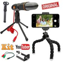 Kit Youtuber Microfone Condensador Mesa Profissional Pc Câmera Celular Smartphone Iphone Android + Mini Tripé Flexível - Leffa Shop