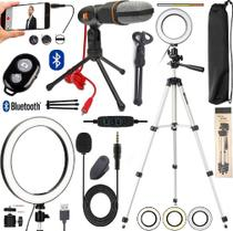 Kit Youtuber Microfone Condensador + Tripé Profissional De Celular Luz Anel Led Iluminador Ring Light Gravação de Vídeo - Leffa Shop