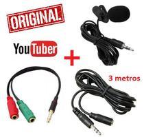 Kit Youtuber Microfone de Lapela Celular Câmera + Adaptador + Extensão 3 Metros Iphone Android Original - Leffa Shop