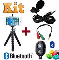 Kit Youtuber Microfone De Lapela Celular Iphone Android Câmera Dslr + Mini Tripé Flexível + Controle Bluetooth Original - Leffa Shop
