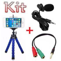 Kit Youtuber Microfone De Lapela Para Celular + Adaptador + Mini Tripé Smartphone Android Iphone - Negócio De Gênio