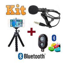 Kit Youtuber Microfone De Lapela Para Celular + Controle Bluetooth + Tripé - Negócio De Gênio