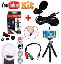 Kit Youtuber Microfone de Lapela Para Celular + Flash Luz Ring Light + Kit Lentes 3x1 + Mini Tripé Flexível Profissional - Leffa Shop