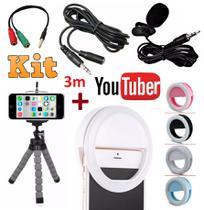 Kit Youtuber Microfone De Lapela Para Celular Smartphone + Flash Led Anel Recarregável + Mini Tripé Flexível Extensão 3m - Leffa shop