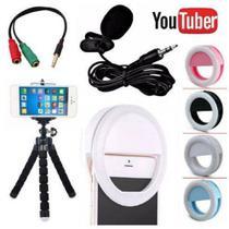 Kit Youtuber Microfone De Lapela Para Celular Smartphone + Flash Led Anel Recarregável + Mini Tripé - Negócio De Gênio