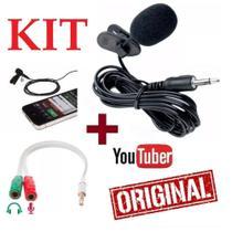 Kit Youtuber Microfone de Lapela Para Celular + Universal Adaptador P2 p/ Gravação de Vídeos - Und