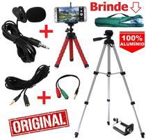 Kit Youtuber Microfone de Lapela + Tripé 1,30m Celular Câmera + Extensão 3 Mts + Mini Tripé Flexível + Bolsa Brinde - Leffa Shop