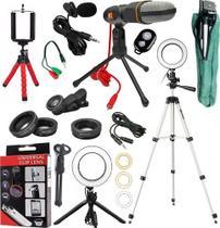 Kit Youtuber Microfone De Mesa Lapela Tripé 1,30m Ring Light - Riosul Store