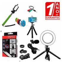 Kit Youtuber Microfone Lapela + 2 Tripés Iluminador Ring Light Luz Led + Kit Lentes 3x1 Celular - Redshock