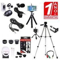 Kit Youtuber Microfone Lapela Celular + Tripé 1,30m Câmera Celular + Flash Ring Light + Kit Lentes - Redshock