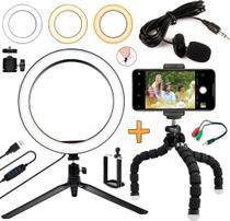 Kit Youtuber Microfone Lapela Celular Universal Tripé Luz Led Iluminador Ring Light Anel Gravação Vídeo - Leffa Shop