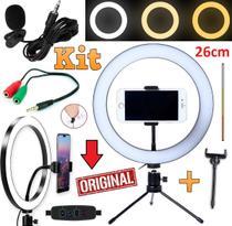 Kit Youtuber Microfone Lapela Iluminador Ring Light Luz Anel Led 26cm 10 Polegadas Flash Celular Universal + Mini Tripé - Leffa Shop