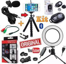 Kit Youtuber Microfone Lapela Tripé Câmera Celular + Iluminador Flash Luz Ring Light Anel Lentes Universal - Leffa Shop