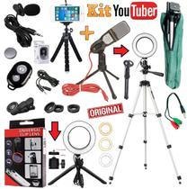 Kit Youtuber Microfone Mesa Lapela Tripé 1,30m Celular Câmera Universal Luz Anel Led Iluminador Ring Light Profissional - Leffa Shop