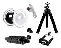 kit youtuber Mini Tripé Flexível + Ring Light Para Celular Universal -