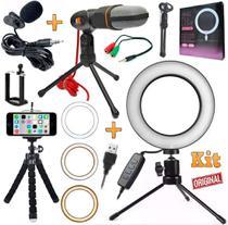 Kit Youtuber Mini Tripé + Microfone Profissional Condensador de Mesa Lapela Celular + Luz Led Anel Iluminador Ring Light - Leffa Shop