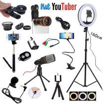 Kit Youtuber Profissional 7 Iluminador 1.60M  Microfone Condensador Zoom Mini Tripe - Ukimix