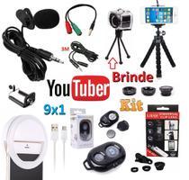 Kit Youtuber Profissional 9x1 Microfone Lapela Celular + Extensão 3m + 2 Tripés Flash Luz Ring Light Kit Lentes 3x1 - Leffa Shop