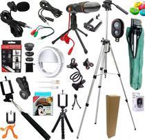 Kit Youtuber Profissional Completo 16x1 Tripé 1,30m Câmera Celular + Lapela Microfone Mesa + Luz Led Ring Light + Lentes - Leffa Shop