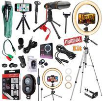 Kit Youtuber Profissional Lapela + Microfone Condensador Mesa Tripé 1,30m Celular Luz Iluminador Ring Light 26cm Lentes - Leffa Shop