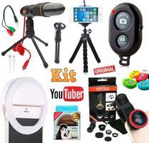 Kit Youtuber Profissional Microfone Condensador Mesa Pc Celular Câmera + Tripé Flexível Luz Flash Ring Light + Lentes - Leffa Shop