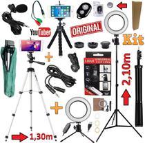 Kit Youtuber Profissional Microfone de Lapela + 2 Tripés 2,10m e 1,30m Câmera Celular Iphone Android Luz Led Ring Light - Leffa Shop
